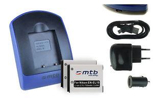 2x-Baterias-USB-Cargador-EN-EL19-para-Nikon-Coolpix-S6400-S6500-S6600
