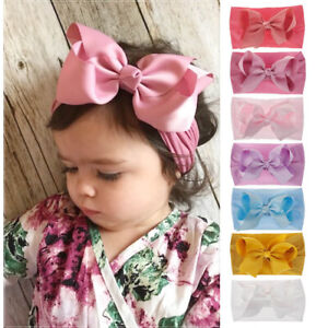 Baby Girl Toddler Sweet Lace Bow Hairband Headband Stretch Turban Knot Head Wrap