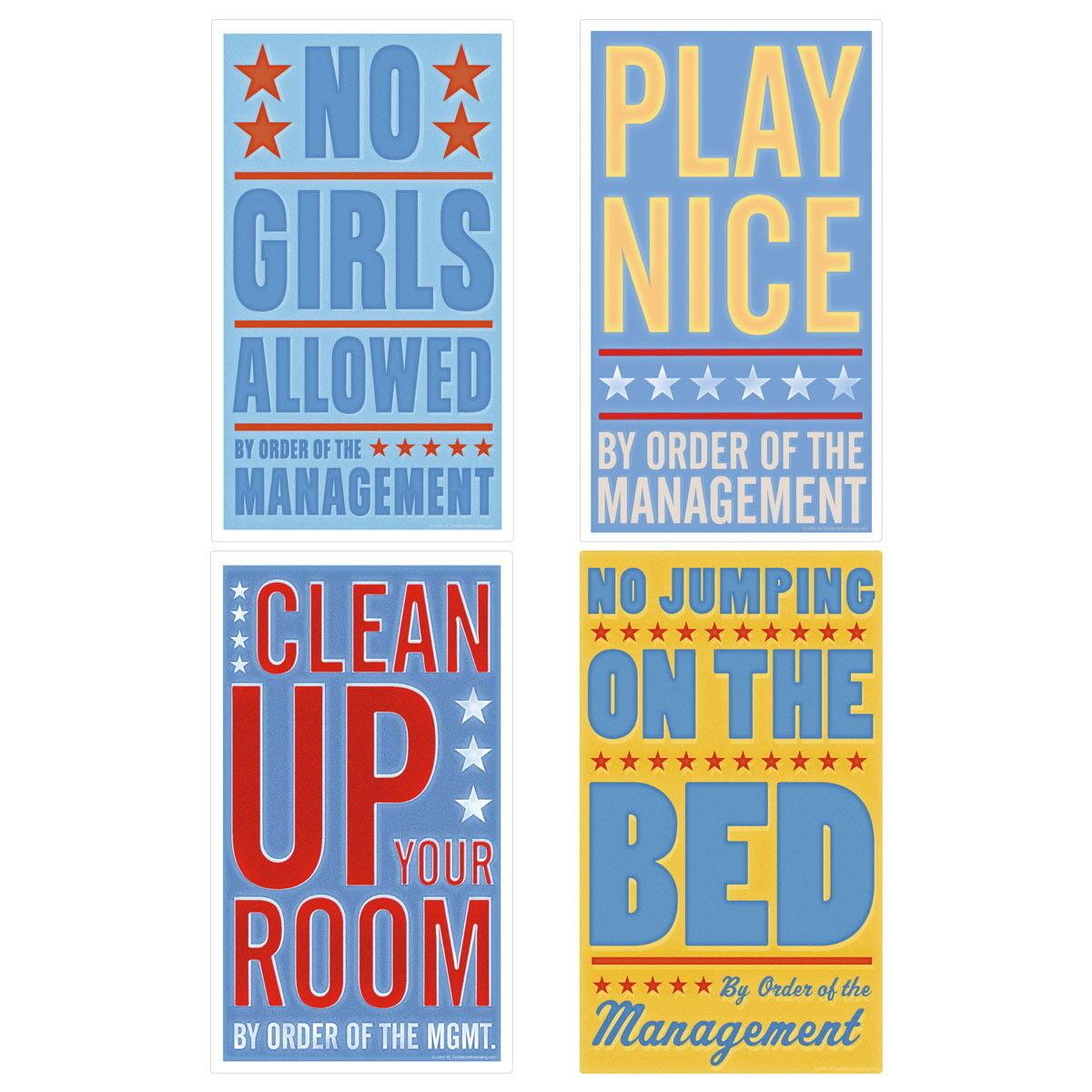 Bedroom Rules Boys Room Wall Decal Set Vintage Style Home Decor Bundle