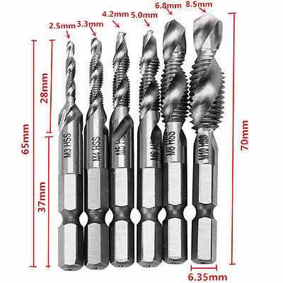 6 Pcs Composite Taps for Shank M3-M10 Titanium Plated Metric Drill Bits-Screw Thread Tool Sample 9