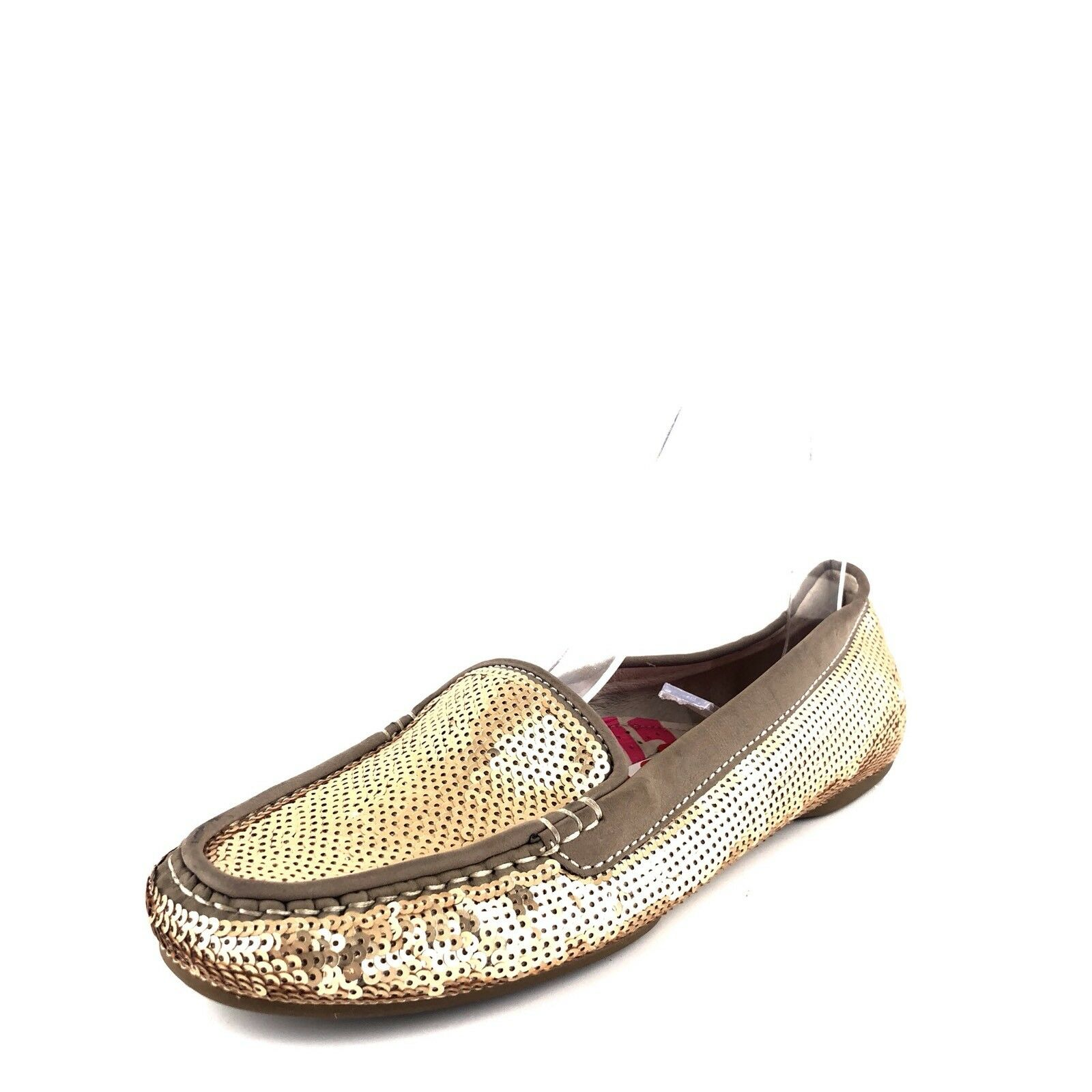 Women's Joan & David 'Dafaline2' gold Sequinned Loafers shoes Size 8.5 M