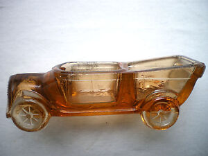 RARE FRENCH TOURING CAR DOUBLE SALT, OPEN SALT AMBER GLASS PORTIEUX VALLERYSTHAL