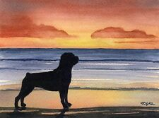 Rottweiler Sunset Watercolor 11 x 14 Art Print Signed by Artist Djr