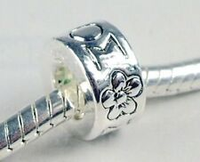 MOM with Flower Silver Plated 10mm Tube Large 5mm Hole European Charm Bead 1pc