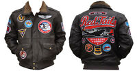 Tuskegee Airmen Leather Jacket 332 Redtails Us Air Force Military Style Coat M-5