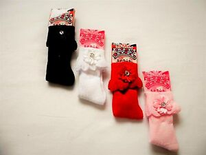 Baby Girl 1 Pair Knee Length Socks With Flower And Diamante Stone S48