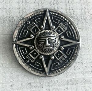 Vintage-Mexican-925-Sterling-Silver-Mayan-Aztec-Sun-Calendar-Brooch-Pendant-Pin