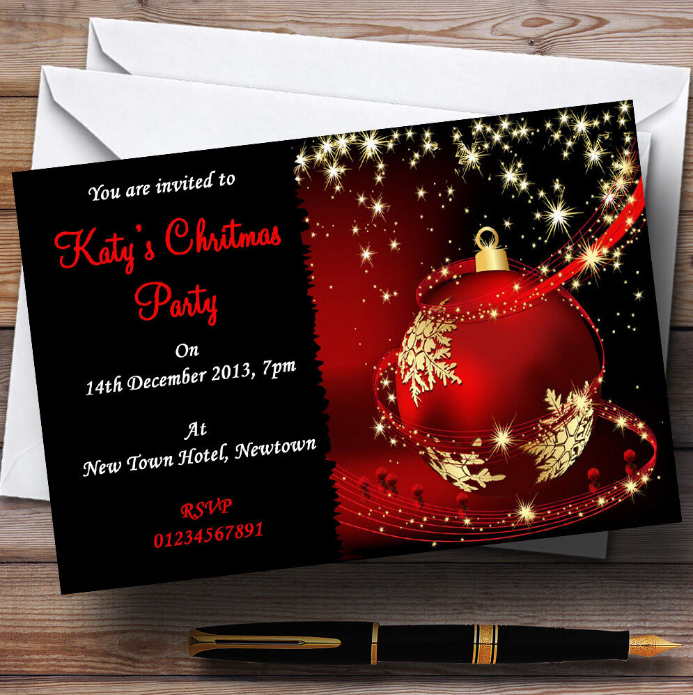 Rouge, personnalisées or & noir superbe invitations personnalisées Rouge, fête de Noël 4b5a12