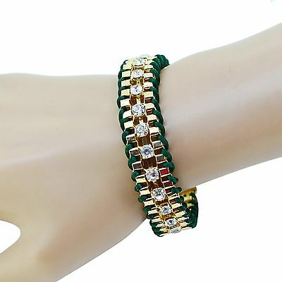 Women's Crystal Charm Bracelet Bangle Braided Rhinestone Cuff Wristband Gift