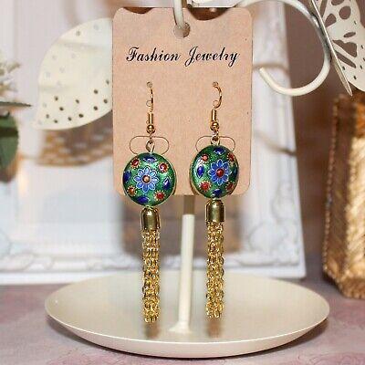 ORIENTAL FAN BLUE Floral GOLD CLOISONNE BEAD GP Charm Drop Earrings GIFT