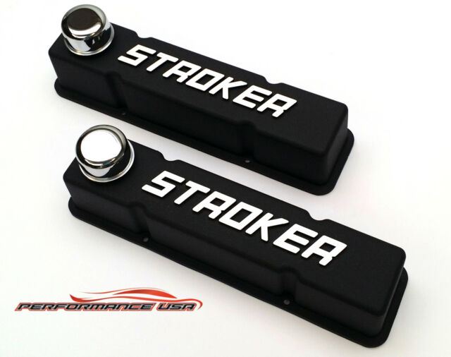 Small Block Chevy Tall Raised Letter Stroker Black Valve Covers