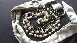 Vintage-3-Strand-Faux-Pearl-Beaded-Plus-Size-Belt-80-039-s-90-039-s