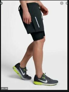 Details about NEW MENS S L NIKE FLEX DISTANCE ELEVATE RUNNING SHORTS 2in1 7  inch BLACK 892891