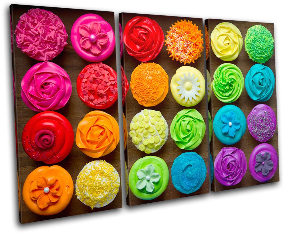 Cupcakes Baking  Food Kitchen TREBLE Leinwand Wand Kunst Bild drucken