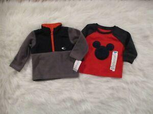 Carter-039-s-Disney-Mickey-Baby-Boys-2-Piece-12-Mo-Sweater-Tops-Fleece-Gray-Red-NWT