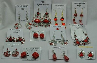 TH-13 Wholesale lots 3 pairs Chandelier Drop Dangle  Earrings Red Collection