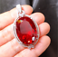 18x25mm-Big-Top-quality-Oval-Pigeon-Blood-Red-ruby-sterling-silver-pendant thumbnail 1