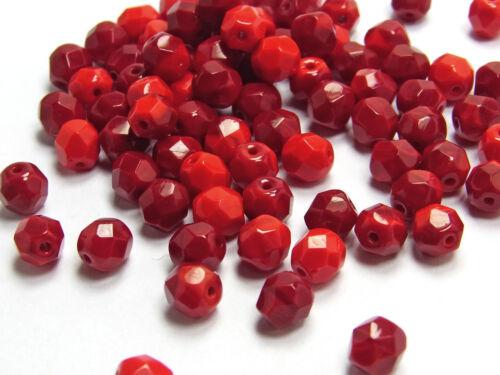 rot opak; *3044 Glasschliffperlen 40 x Böhmische Glasperlen 6 mm