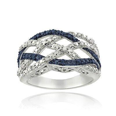1/4 Ct Blue & White Diamond Weave Ring
