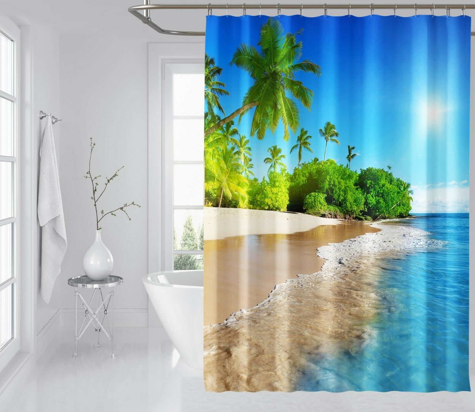3D Sun Beach view 78 Rideau de Douche Imperméable Fibre Salle De Bain Windows Toilette