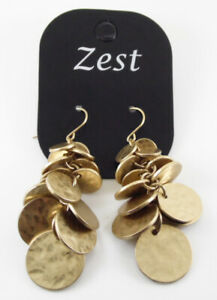 ZEST-GOLD-CLUSTER-EARRINGS-BEATEN-HAMMERED-EFFECT-DESIGN-DROP-DANGLE-DISCS