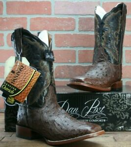 f2e798f9d5a Details about Dan Post Chocolate Quilled Ostrich Cowboy Western Boots  Women's Square Toe 8.5 M