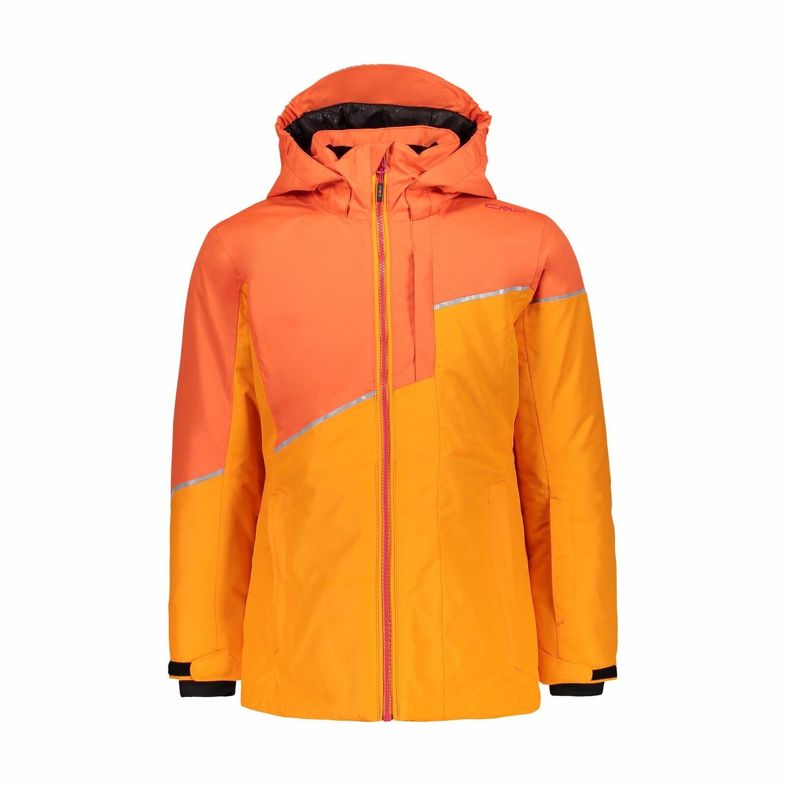 CMP Giacca Sci Snowtavola Giacca Girl lungo Jacket Fix Hood Arancione Impermeabile