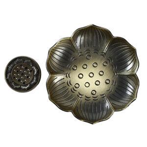 Lotus-Incense-Burner-Flower-Statue-Censer-Sticks-Tower-Cone-Plate-Holder-LD