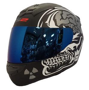 LS2-FF352-X-Ray-Rookie-Integrale-da-Moto-Casco-Antiurto-in-Blu-Iridium-Visiera