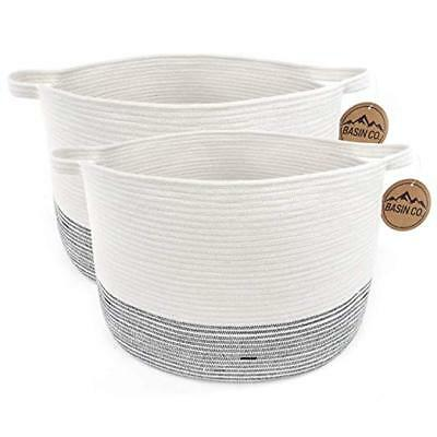 "2 Pack BasinCo Large Storage Basket XXL 20"" x 13"" - Cotton Rope Woven Basket"