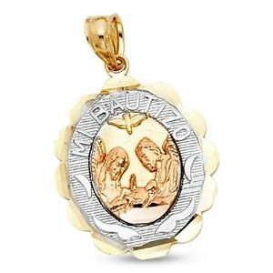 holy baptism gold medallion pendant angels yellow