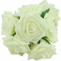 20pcs Ivory Artificial Rose Flowers Bridal Wedding Bouquets Romantics Party Deco