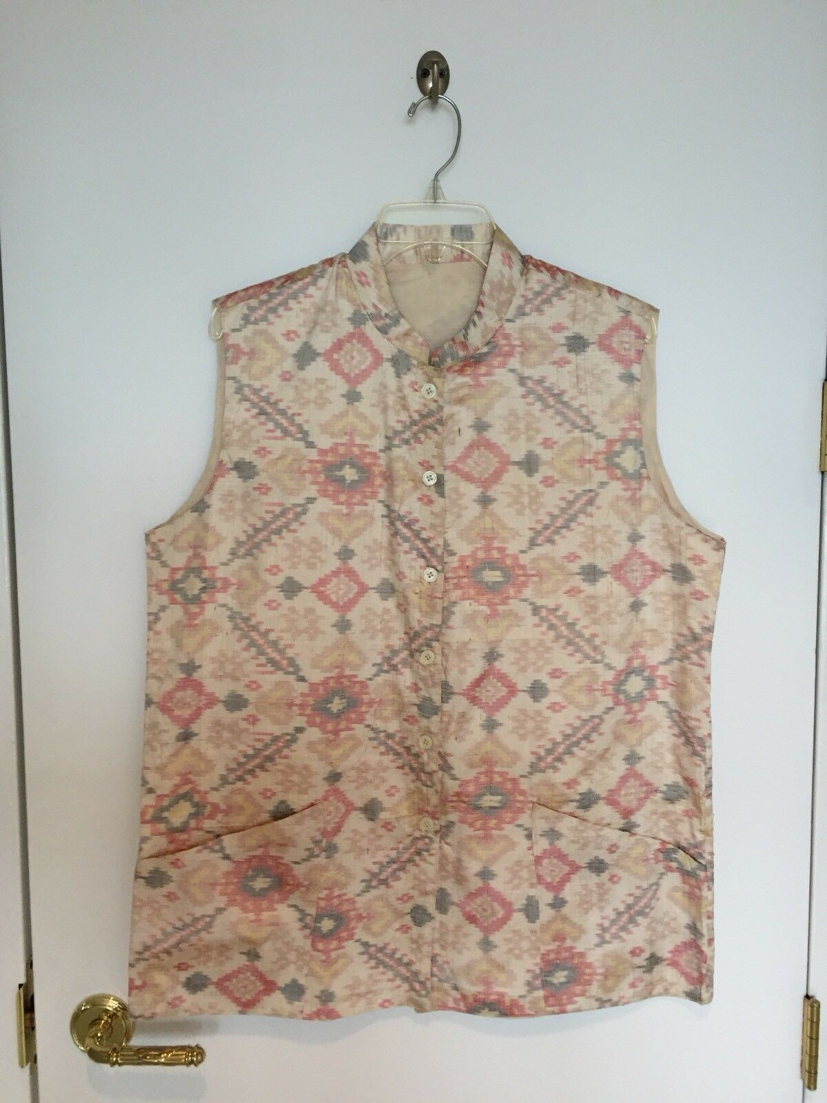 New Dressy Men's Women's Ikat 100% Silk Lined Nehru Sleeveless Vest Ivory -  XL
