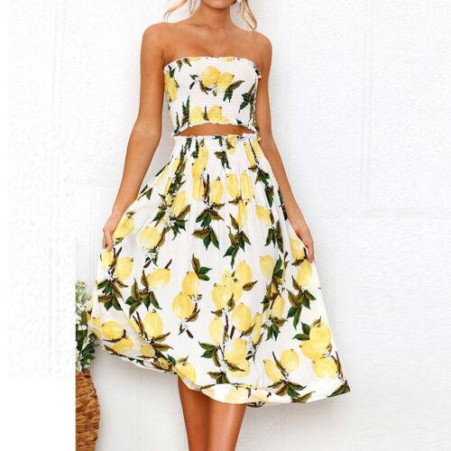 Womens Holiday Sleeveless 2Pcs Crop Top Long Skirt Set Summer Floral Beach Dress