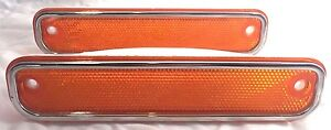 Pair-1973-1980-Chevy-Chevrolet-GMC-Truck-Amber-Front-Side-Marker-Lamp-Lights