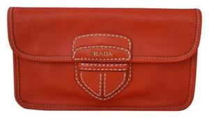 8f81c7a1dc40d8 Image is loading PRADA-CLASSIC-CANAPA-ORANGE-LEATHER-FLAP-LOGO-CLUTCH-