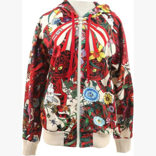 Gucci red jaguar and  floral silk bomber. Size XS