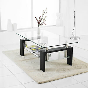 Modern-Rectangle-Glass-amp-Chrome-Living-Room-Coffee-Table-With-Lower-Shelf