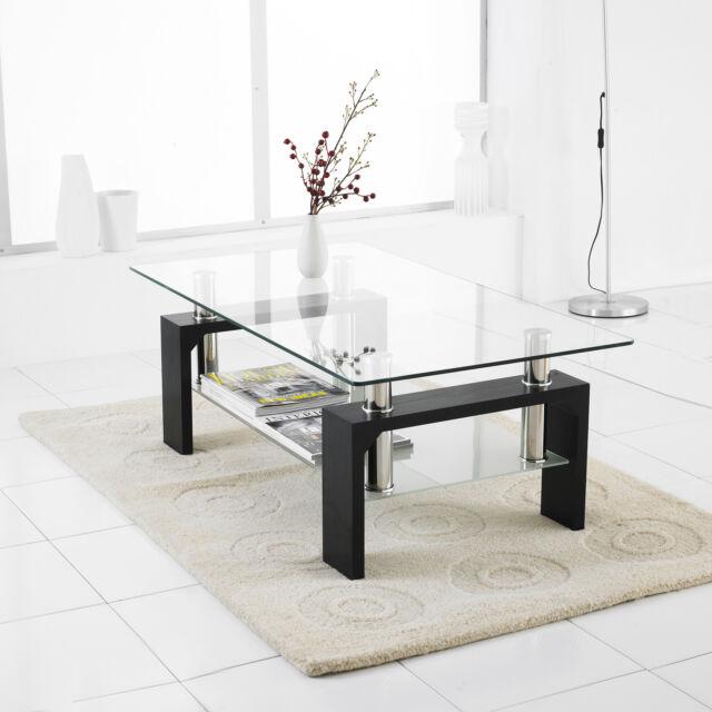 Modern Rectangle Glass & Chrome Living Room Coffee Table With Lower Shelf