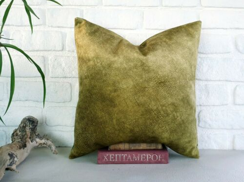 Lime green color thick velvet-baby face super soft fabric pillow cover-1QTY