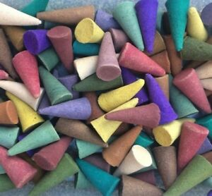 100 x INCENSE CONES - MIX of 14 Fragrances - 2.5cm Loose Indian Exotic Colourful