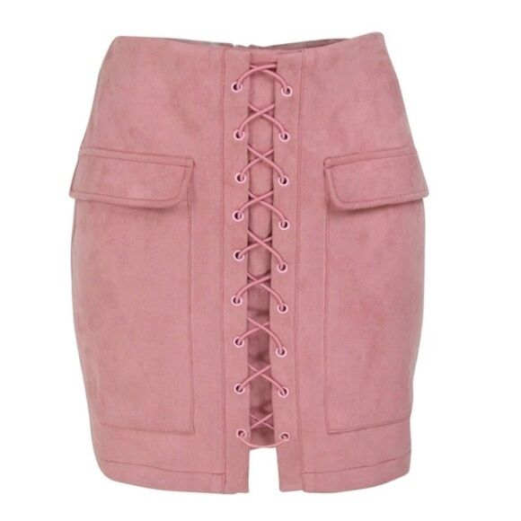 C42 Soft  pink Pink Microfiber Faux Suede Lace Up Pencil Skirt