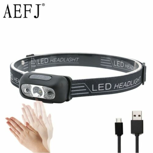 Led Body Motion Sensor Camping Mini Rechargeable Headlamp Outdoor Headlight 3000