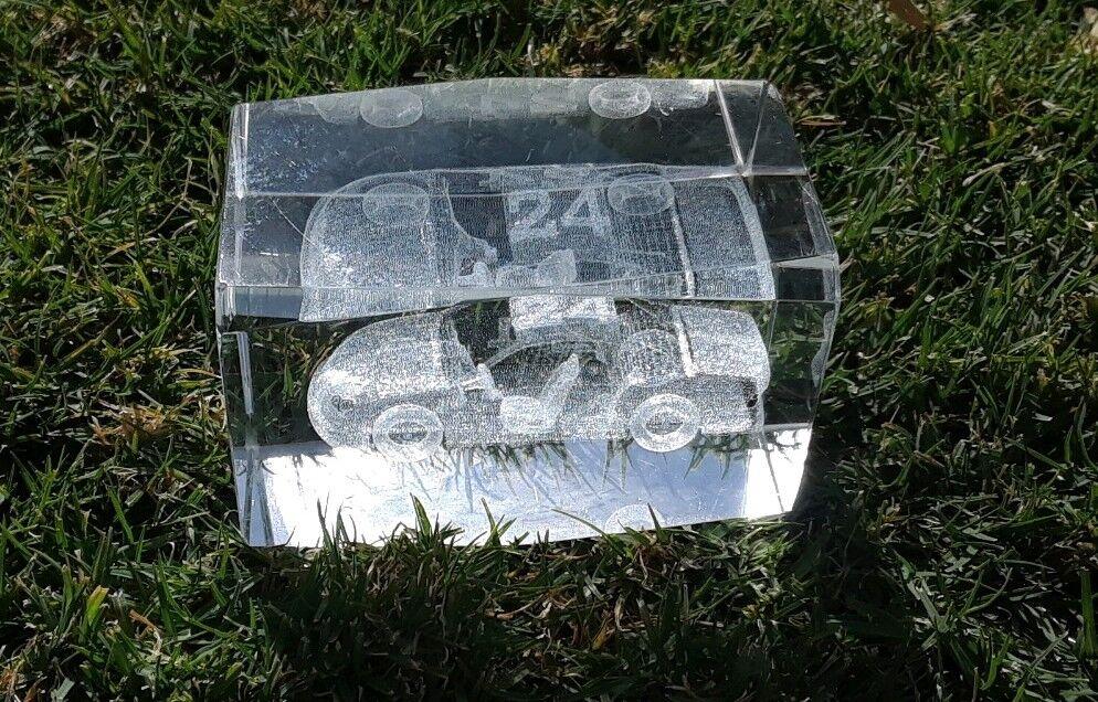NASCAR COLLECTABLE CLEAR GLASS LAZER RACE CAR