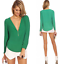 Seyx-Women-039-s-V-NECK-Loose-Long-Sleeve-Chiffon-Casual-T-Shirt-Tops-Blouse thumbnail 14
