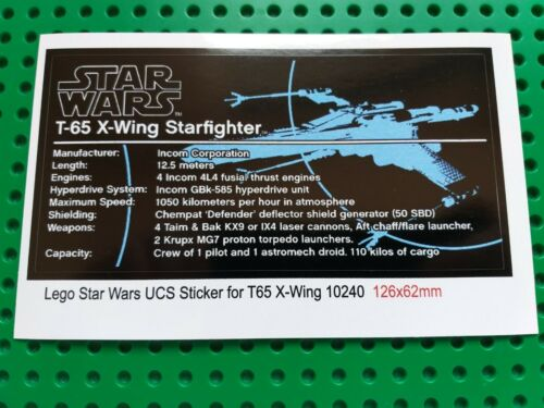 Ersatz Aufkleber//Sticker LEGO Star Wars Set 10240 Red Five X-wing Starfighter