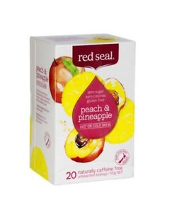 2 Packs of 20 RED SEAL Peach & Pineapple Caffeine Free Tea Bags - NEW