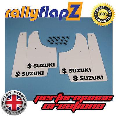 Mudflaps Suzuki Swift Black 4mm PVC White Logo Mud Flaps Gen 2 08-10 Non Sport