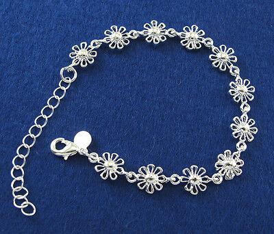 Winsome 925 Silver Women's Charm 11X Chic Flowers Chain Bracelet Bangle Jewelry