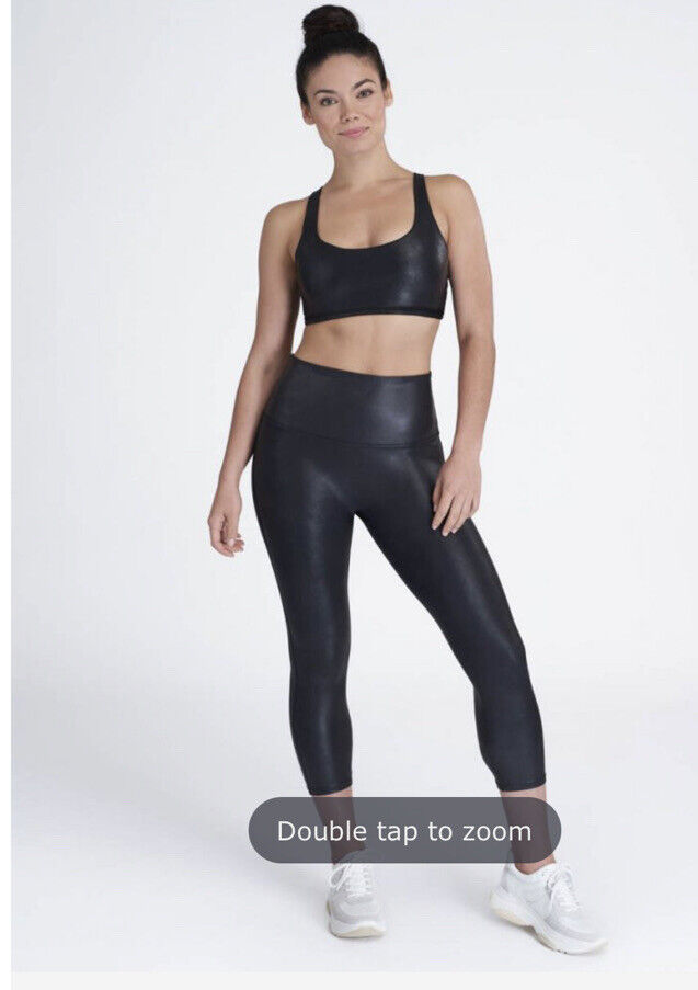 Spanx Faux Leather Active Cropped Leggings Very Black Medium
